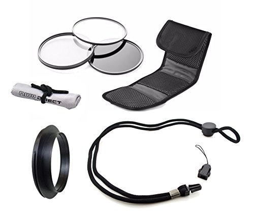 Canon PowerShot SX60 HS High Grade Multi-Coated, Multi-Threaded, 3 Piece Lens Filter Kit (58mm) + Lens/Filter Ring + Krusell Multidapt Neck Strap + Nw Direct Microfiber Cleaning Cloth