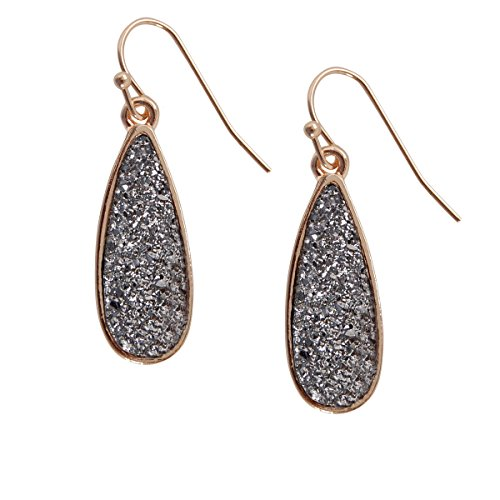 (Humble Chic Simulated Druzy Drop Dangles - Gold-Tone Sparkly Long Teardrop Dangly Earrings for Women, Simulated Hematite, Grey, Metallic, Silver-Tone,)
