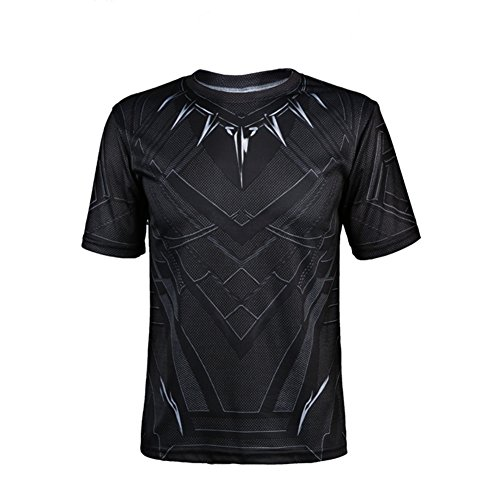 Short Sleeve Black Panther Shirt - Perfect Short Sleeve Anime Cosplay Costume for Cosplay Theme Activities, Halloween, Concerts, Theme Parties and Dating (Themes Halloween Costumes)