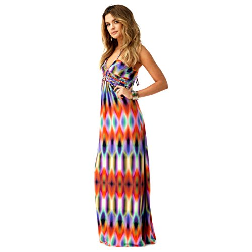 Collection Ciel, Robe Maxi Multi Couleur Saadet, Taille Xs
