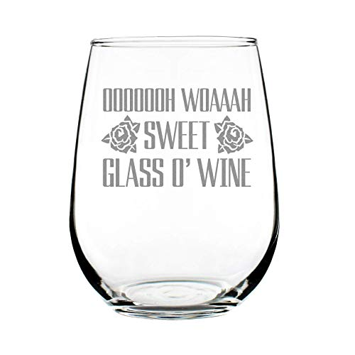 Sweet Glass O' Wine - Cute Funny Stemless Wine Glass, Large 17 Ounces, Etched Sayings, Gift - Roses Etched