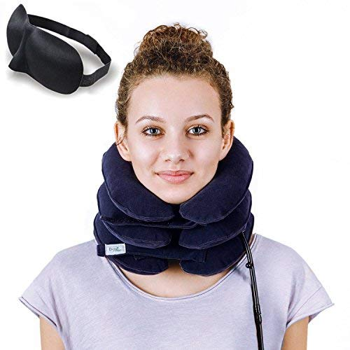 eck Traction ✮ Effective Neck Pain Remedy at Home ✮ Inflatable & Adjustable Neck Stretcher Collar Device + Eye Mask Bonus (Dark Blue) ()