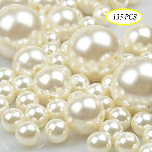 Jangostor Elegant Glossy Polished Pearls Assorted Plastic Loose Beads for Vase Fillers, DIY Jewelry Necklaces, Table Scatter, Wedding, Birthday Party Home Decoration (Ivory)]()