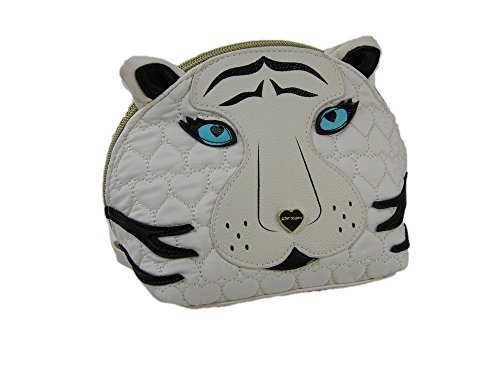 New Betsey Johnson Logo Cosmetics Make Up Bag Travel Case Cat Cream Kitsch