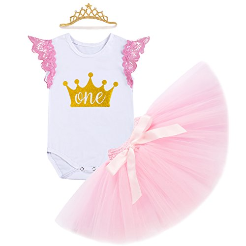 IBTOM CASTLE Kids Baby Girls Newborn It's My 1st Birthday Cake Smash Shinny Printed Tutu Princess Boutique Fall Dress 3Pcs Sparkly Gold Outfit (12-18 Months, 1 Pink Crown) -