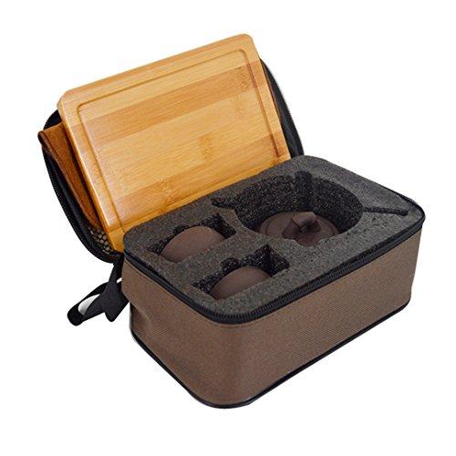 Felice Handmade Chinese Kungfu Tea Set Purple Clay Travel Teaset with Portable Travel Bag
