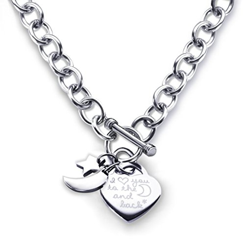 Heart Toggle Necklace I Love You to the Moon and Back Charm Stainless Steel 18