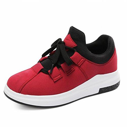 Arco para Aumentar Los Estudiantes Cálidos Antideslizantes Pastel Flojo Grueso Cordón Inferior con Zapatos de Skate Casuales , rojo , EUR 35.5