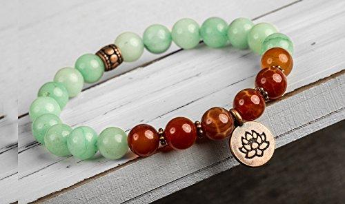 amazonite-firestone-agate-gemstone-stretch-bracelet-lotus-charm-healing-yoga-spiritual-buddhist-mala