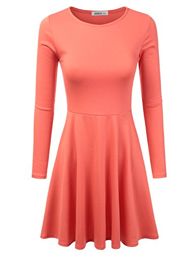 Doublju Stretchy Knit Flared Skater Dress (Made In USA / Plus size available) SALMON SMALL (Cheap Fancy Dress Plus Size)