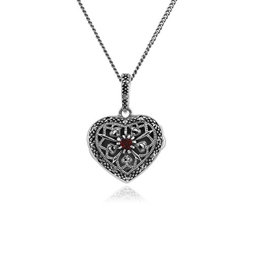 - 925 Sterling Silver Garnet & Marcasite Heart Locket Necklace