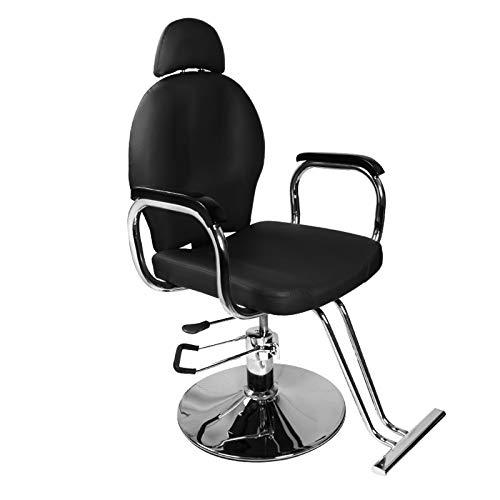(Black Classic Recline Hydraulic Barber Chair Styling Salon Beauty)
