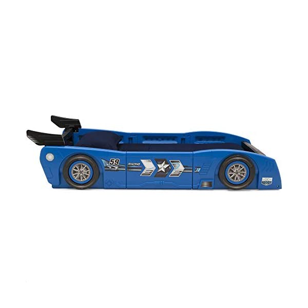 Delta Children Grand Prix Race Car Toddler and Twin Bed, Blue 6
