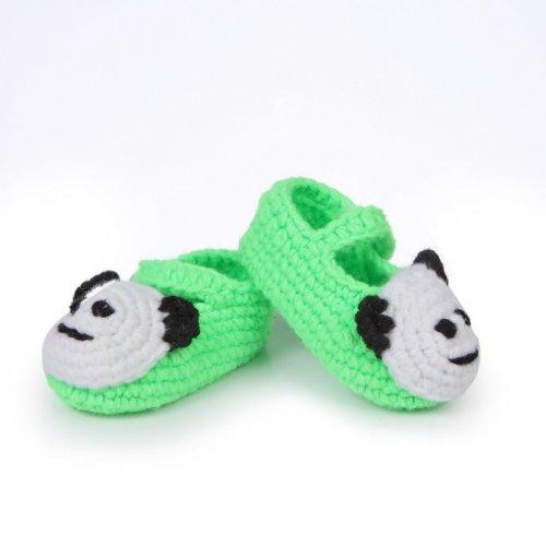 Smile YKK Baby Krabbelschuhe Gestrickte Schuhe flauschige Länge 11 cm Panda Blau Panda Grün V
