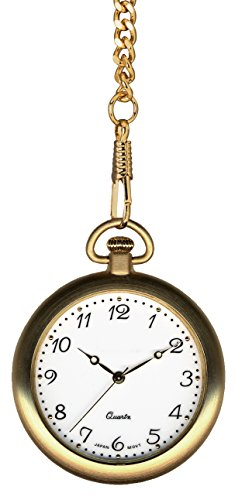 Pedre Gold Tone Pocket Watch with 14'' Chain and Engravable Wooden Display Stand, 8710GX by Pedre