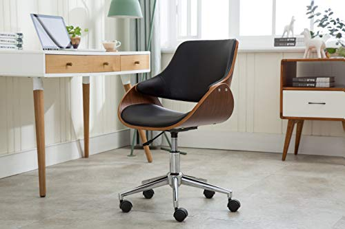 Porthos Home TFC045A BLK Adjustable Height Mid Century Modern Office Desk Chair Faux Leather and Wood with Caster Wheels, Easy Assembly, One Size, Black