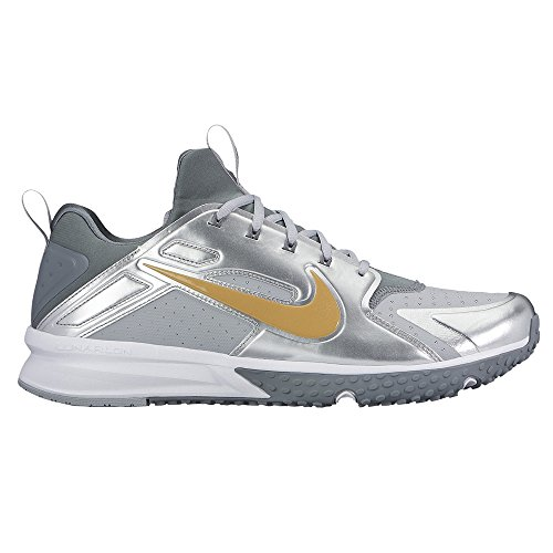 (Nike Men's Alpha Huarache Turf Baseball Trainers (Silver/Gold, 10.5 D(M) US))