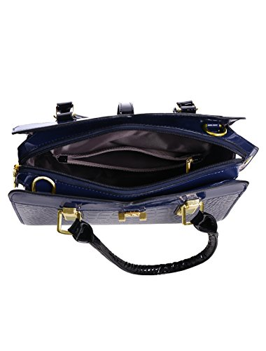 sourcingmap® Donna Con Zip Closed Tracolla Staccabile Tasca Con Zip Borsa Blu Navy