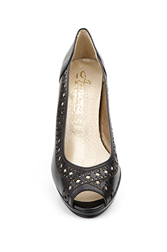 Conbuenpie by Jam - Zapato sandalia con plataforma piel mujer color negro laser