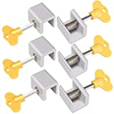 OBANGONG 6 Pcs Adjustable Sliding Window Locks Stops Aluminum Alloy Door Frame Security Lock with Keys