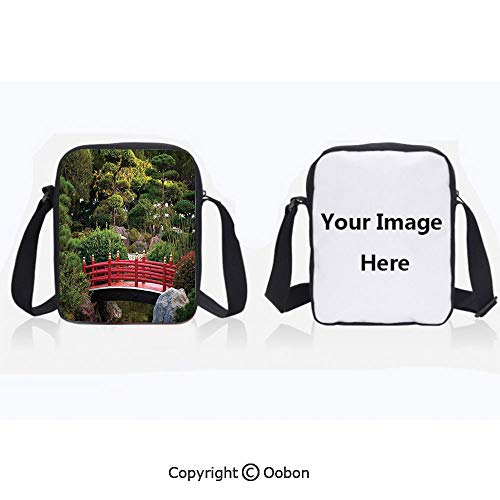 Anti-Theft Crossbody Bag for Women Polyester Unisex Children Tiny bridge Over Pond Japanese Garden Monte Carlo Monaco Along With Trees and Plants Decorative Zipper Anti Theft Waterproof Shoulder Bag