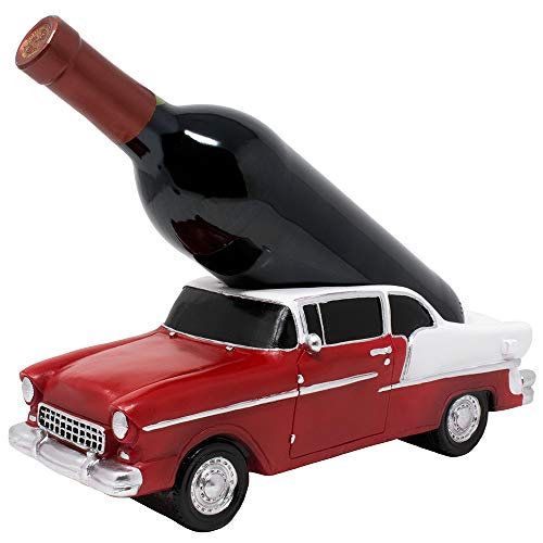 Classic Car Wine Bottle Holder Statue As Decorative Tabletop Wine Rack in Antique Look for Retro Automobile Collectors Bar Decorations and Rustic Bar Décor or Vintage Wine Lover Gifts for Men
