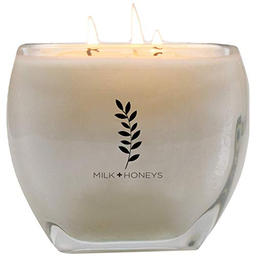 Wick Jar Candle 3 (MILK+HONEYS Pretty Large Scented Candle - White Tea Ginger - 100% Soy Candle, 3 Wicks, 15oz Large Modern Luxe Heavy Glass Holder)