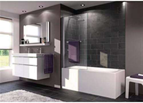 Penacho – Pare bañera X1B 1 elemento con puerta toalla Reversible plata eloxé brillante 75 x 1,5 x 153 grosor del vidrio 6 mm Ref 121702069321: Amazon.es: Hogar