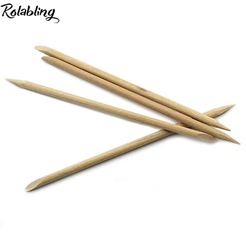 5 pcs Nail Art Orange Wood Sticks Cuticle Pusher Remover Manicure Pedicure Nail Care Tool ()