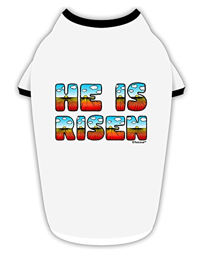 TooLoud He Is Risen - Easter - Sunrise Letters Cotton Dog Shirt White with Black (He Is Rise)