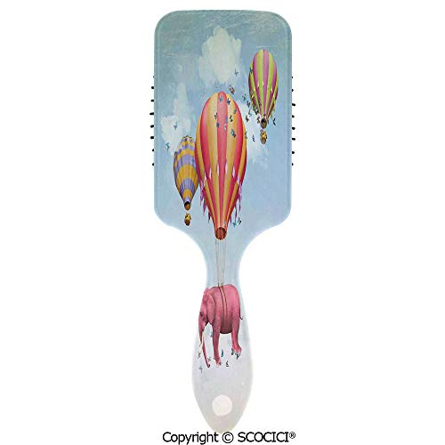 (Hair Brush with Air Cushion Combs Pink Elephant in the Sky with Balloons Illustration Daydream Fairytale Travel Decorat for Scalp Massage Anti-static, No Hair Tangle)