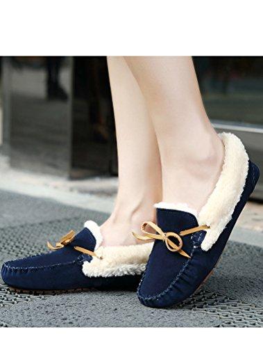 foncé Chaussures De Femmes D'hiver Bleu Vintage Style3 Fourrure Matchlife Plat Hqq8w5I