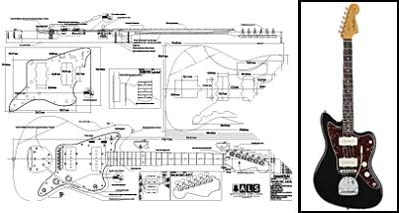 Plan de Fender Jazzmaster guitarra eléctrica–escala completa impresión