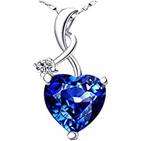 Mabella 4.03 CTW Heart Shaped Blue Pendan
