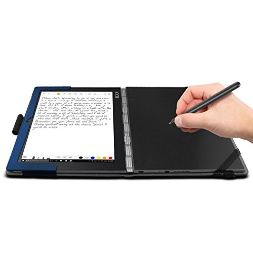 Infiland Lenovo Yoga Book Case, Folio Premium PU Leather Stand Cover for Lenovo Yoga Book 2-in-1 10.1-Inch Tablet (Android and Windows Version) -Navy