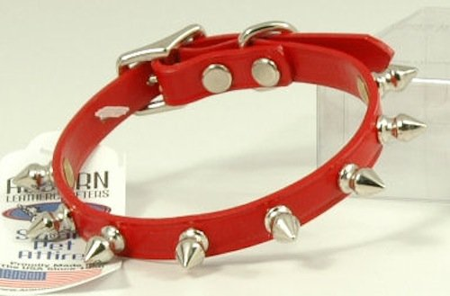 "Auburn Leather Spiked Dog Collar - 12""-14"" - Red"