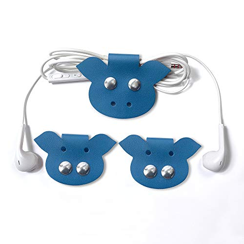 (Cassenger 3-Pack Piggy Earphone Winder Genuine Italian Leather Cable Straps, Cable Organizers with Leather Handmade (Blue))