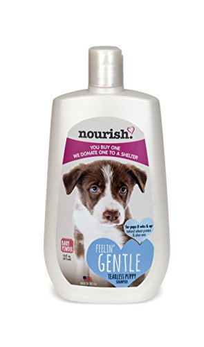 Nourish Tearless Gentle Puppy Shampoo, Baby Powder Scented 16 oz - You Buy 1, We Donate 1 to a Shelter, Made in USA, PH Balanced