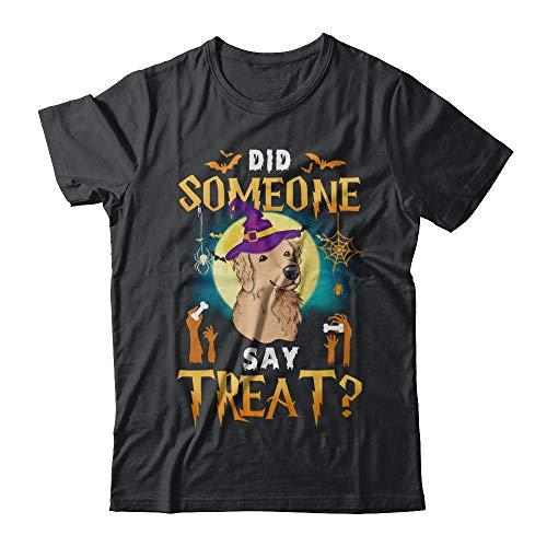TeesPass Did Someone Say Treat Golden Retriever Halloween Costume Shirt Short Sleeve Tee (Black, 4XL) -