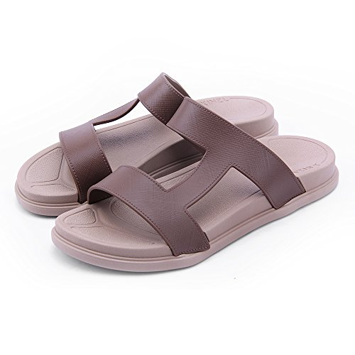 Leather House Soft Outdoor Men Bathroom Slippers WILLIAM Summer Sandals amp;KATE Casual Slides Womens Indoor Brown Sandals fqpOwR5