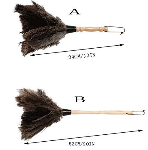 ZHANGY Hand Duster- Ostrich Feather Wood Handle, Spider Web Duster/Anti-Static car/Home Dust Dirt Cleaning Tool,B by ZHANGY (Image #1)
