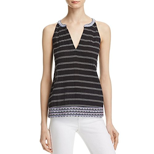 Soft Joie Womens Striped Embroidered Casual Top B/W (Joie Cotton Tunic)