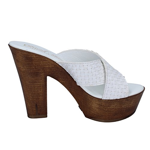 Davids Sandalias de Vestir de Piel Para Mujer Bianco
