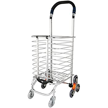 uxcell Folding Shopping Cart, Stair Climbing Cart Holds Up to 110 lbs, Light Weight Trolley with Rolling Eight-Wheel Bold for Laundry, Grocery, ...