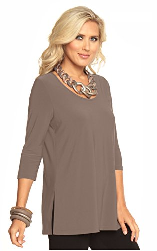 Alisha.D Women's Round Scoop Neck Top with Three Quarter Sleeves(XX-Large,Lt Taupe) ()