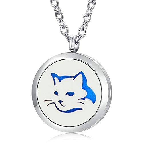 JAOYU Diffuser Necklace for Women Cat Pendant Aromatherapy Stainless Steel Animal Locket - Perfume Jewelry Teen Girls Gifts Birthday, Friendship