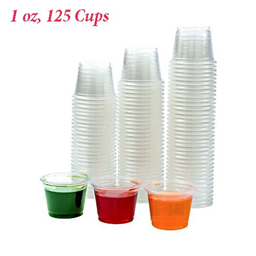 Adorox Plastic Restaurant Condiment Sauces Party Jello Shot Souffle Clear Cups Lids Included (1 oz, Clear (125 Cups))