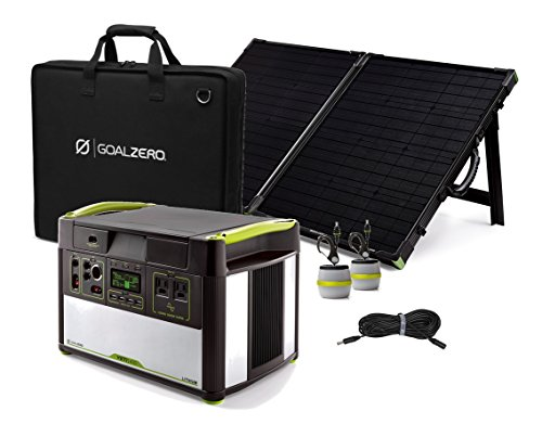 Power Station 1400 - 1400w Lithium Solar Generator, 100w Suitcase Panel, 2 Lights & Extension (Single Panel)
