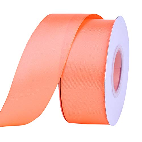 Ribest 1-1/2 inch 25 Yards Solid Double Face Satin Ribbon Per Roll for DIY Hair Accessories Scrapbooking Gift Packaging Party Decoration Wedding Flowers Peach