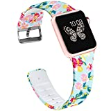Lwsengme Compatible with Apple Watch Band 38mm 42mm,Soft Silicone Flower Printed Replacement Bands Compatible with iWatch Series 3,Series2,Series1,Watch Nike+,Sport